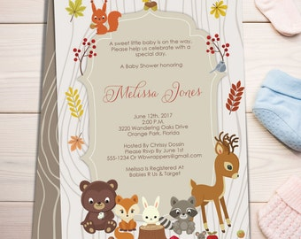 Fall Woodland Themed Baby Shower Invitation TEMPLATE   Forest Animals   PDF  Template   DIY