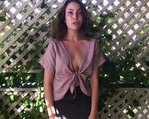 Tie Front Shirt -Cropped -Linen Top -Mauve Blouse -Tie Front - Pale Pink Blouse - Drapey Blouse - Loose Blouse - Short Blouse - Crop Top