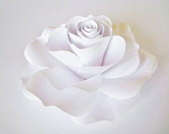 Giant White Paper Rose, White Paper Flower, Spring Summer Wedding Decor, White Flower Bloom, Big Flower, Extra Large Paper Rose, Card Stock