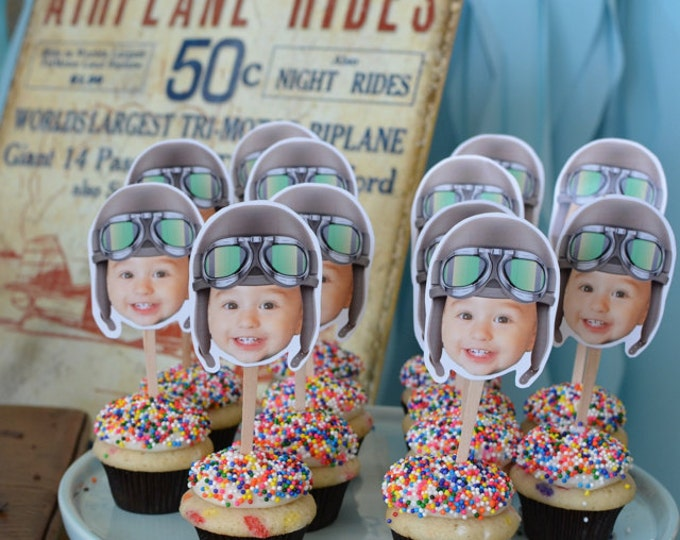 Photo Cupcake Toppers Digital File - Aviator, airplane birthday, vintage airplane,Birthday Party, first birthday, , 1st, Airplane