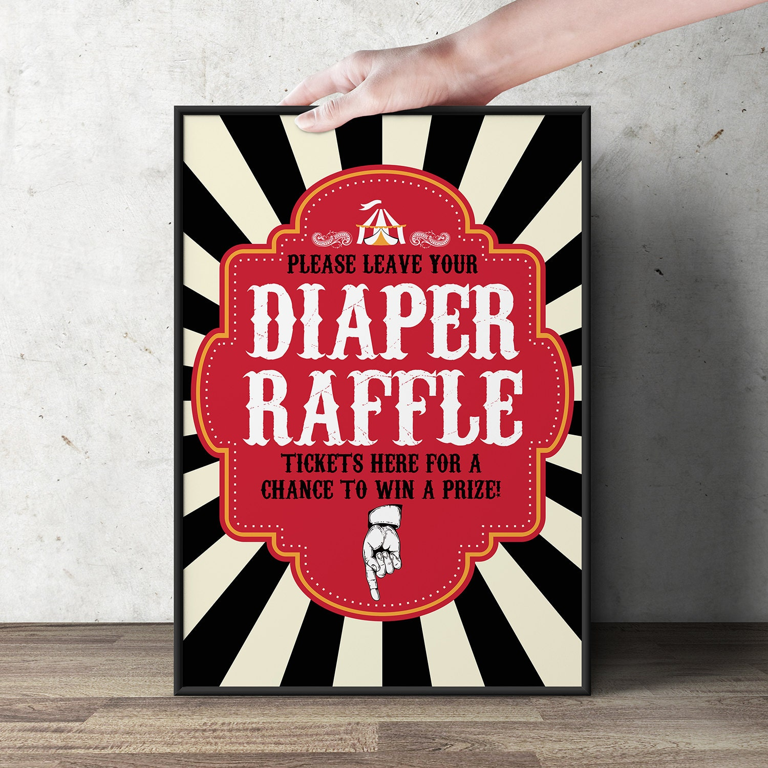 diaper raffle sign vintage circus printable file 🔎zoom