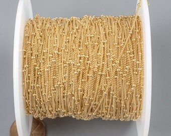 Gold Fill Beaded Satellite Chain -- By the Foot
