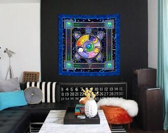 Turtle Terrapin Premium Heavyweight Satin Square Tapestry by Artist Dan Morris titled Earth Turtle, Choose print size