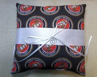 Marine Corp Wedding Ring Bearer pillow Marines fabric & white satin