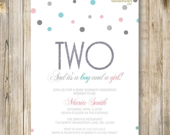 Blue Pink TWINS SHOWER INVITATION, Silver Twin Baby Shower Invite, Boy and Girl, Neutral Gender Reveal, Twin Boys Girls, Printable Digital