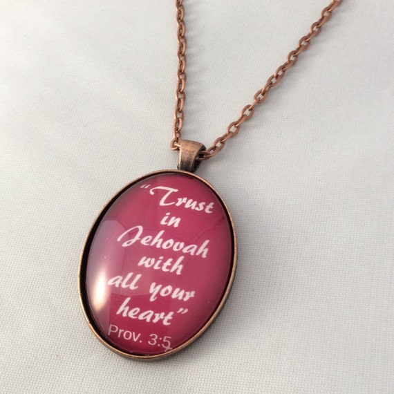 "JW Pendant, -Prov. 3:5, Red or Cream ""Trust in Jehovah..."", - Handmade Copper  or Silver Tone Pendant. Blue Velvet Gift Bag Included!"
