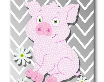 Pink And Gray Pig Etsy