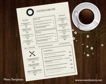 Menu Templates, Printable Restaurant Menu Template, Wedding Menu Template, Food Menu Template,DIY bar menu template ,bar menu template