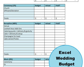 Excel Wedding Budget, Guest List, U0026 Vendor Comparison Electronic Workbook  With Bonus Monthly Budget