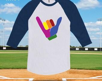 Gay Pride Hang Ten Raglan baseball tshirt for men women kids, gay pride tshirt, gay pride baseball tee, gay pride clothes, lgbt shirt-CT-490