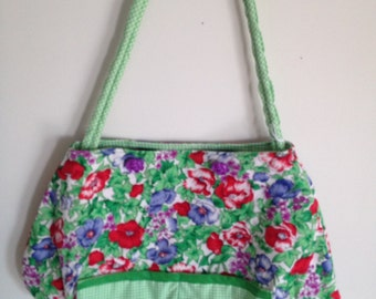 Green floral and gingham purse