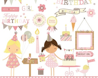 Girls pink pastels, birthday partytime, digital clipart and paper set