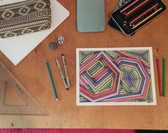 Original, hand-drawn, colored pencil line drawing- spiral