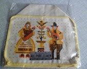 Mid Century Old Stock Parisian Prints Linen Toaster/Appliance Cover~Yellow Folk Art Man/Woman