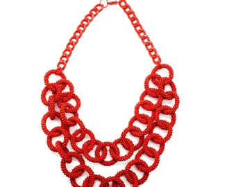 The Chain Necklace Handmade Chain Necklace Double Strands Paint Ring Necklace