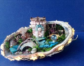 Handmade Fairy Garden Sc Wounderland in An Abalone Shell With  Star Lights Fairy Garden Decorations Terrarium Decorations Gift For Fairy Gar