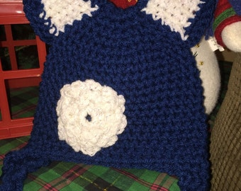 Crochet baby hat child hat girls hat beanie dark blue with white ears and flower with ear flaps free shipping
