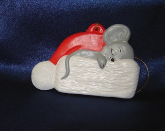 Mouse Asleep On Santa Hat - Mouse Ornaments - Mice Ornaments - Ceramic Ornaments - Christmas Ornaments