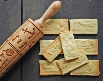 TALK LIKE A PIRATE - embossed, engraved rolling pin for cookies