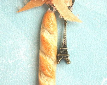 baguette necklace- miniature food jewelry, paris necklace