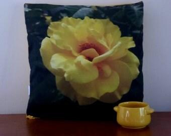 """16"""" Throw Pillow - Yellow Rose - Rose Photography Pillow Cover - Rose Pillow - Original Rose Photograph - Garden Art"""