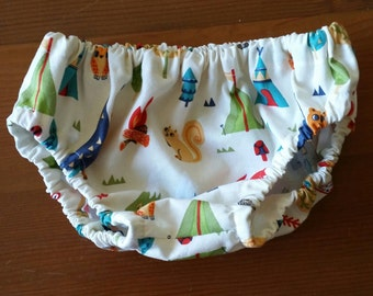 Baby Bloomers - 1 pair of bloomers - Nappy or Diaper Cover. Handmade. Size 3-6 months . Woodland Camping. Busy Work.