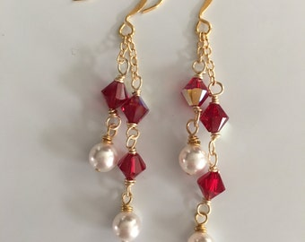 Red Swarovski Crystal and Pearl Dangle Earrings with Gold Chain, Dangle Earrings, Gifts for Her