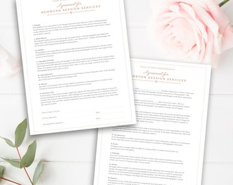 Newborn Photography Contract Template, Newborn Photographer Business Forms, Photoshop Download - INSTANT DOWNLOAD