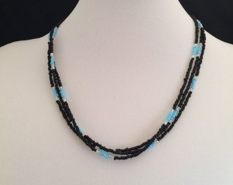 Southwest Look Triple Strand Black Turquoise Seed Beads