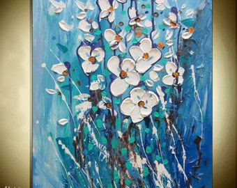 Art Blue And White Flower Painting Textured Flower Art Blue Wall Art Turquoise Bedroom Painting Blue Canvas Art Original Christovart