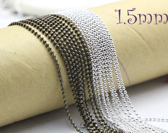 shiny silver petite ball Chain Necklaces - 30inch 1.5mm Petite Chain Necklace - Ball Chains
