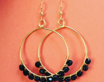 Black bead wire wrapped hoops