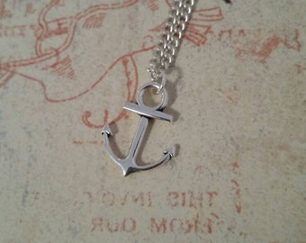 Silver nautical anchor charm necklace, beach jewelry
