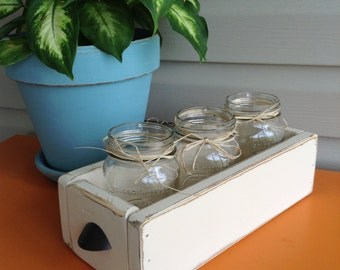 Distressed Wooden Box with 3 Mason Jars