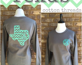 Monogrammed Chevron Texas Sweatshirt Can be made in ANY STATE!