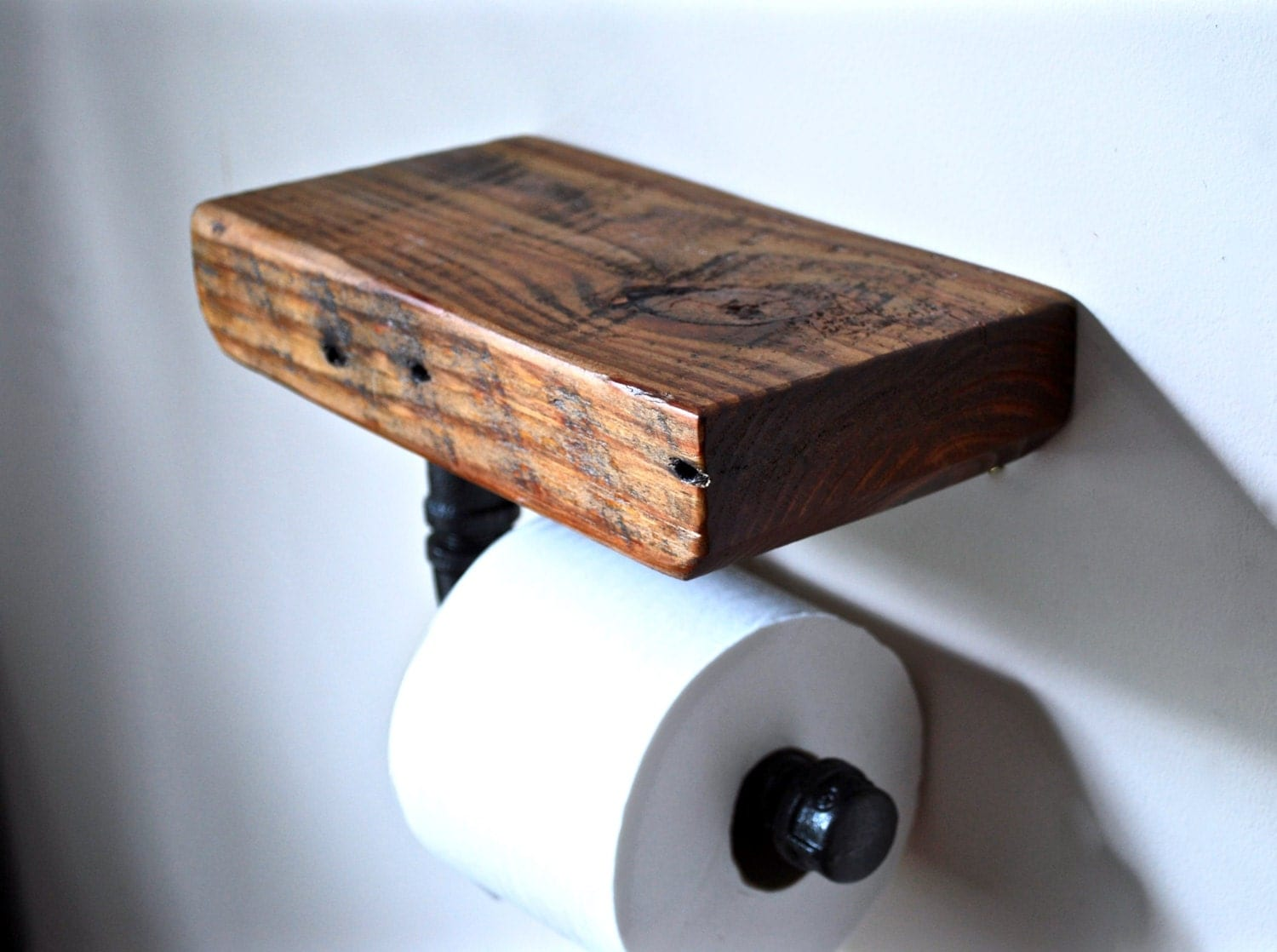 Industrial toilet paper holder reclaimed wood toilet paper Wood toilet paper holders