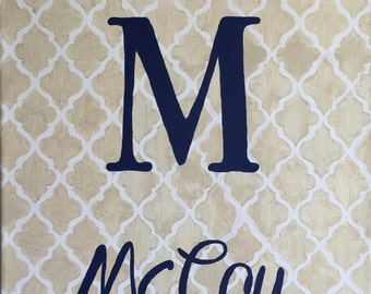 Hand-Painted Personalized Monogram Canvas Wall Art – customizable fonts and colors!