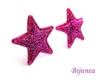 Star earrings - Pink Star studs - Star sky- Stars - Cute Star earrings - Star post earrings - Star stud earrings sf242