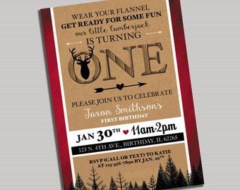 Lumberjack First Birthday Invitation- Digital Printable File