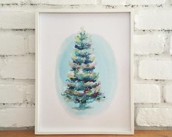 Christmas print of Christmas tree. Evergreen. Christmas decor, home decor, watercolor, pastel drawing. colorful Christmas decorations, art