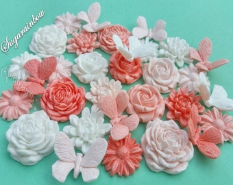 24 edible sugar flowers roses chrysanthemum daisies butterfly cake toppers decorations AIRBRUSHED Peach shades&White