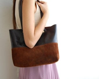 SALE Leather tote bag brown, leather tote bag, shoulder bag, everyday bag, womens bag, leather bag