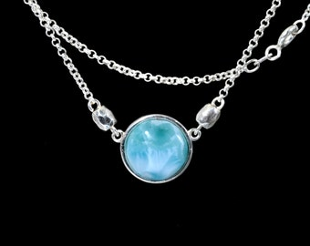 Larimar 6ct (12mm) Cabochon Necklace (New Style) .925 Sterling Silver #319