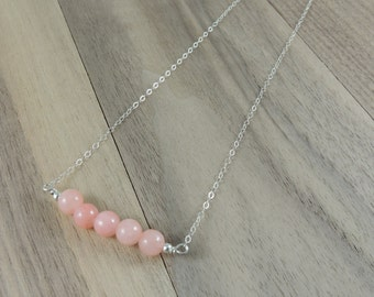 Pink agate sterling silver necklace