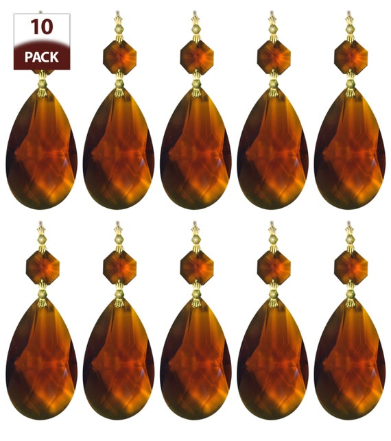 10 Pack Chandelier Replacement Crystal Prisms Amber Almond