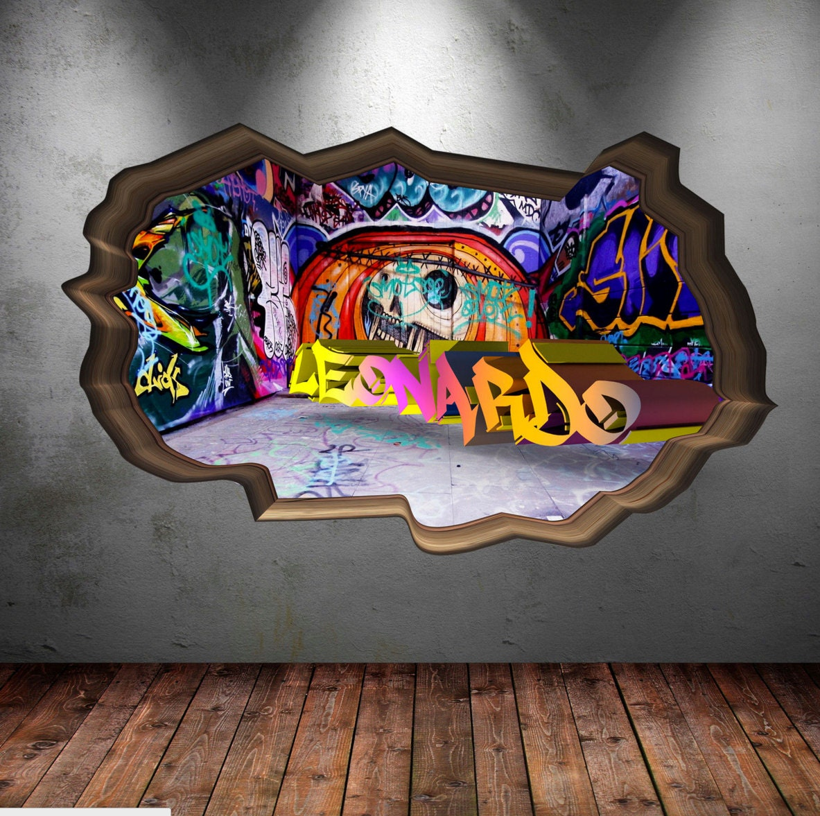 Bedroom Wall Art Graffiti: Personalised Name Full Colour Graffiti Wall Decals Cracked 3d