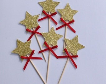 Christmas Cupcake Toppers, Gold Star Cupcake Toppers, Christmas Decorations