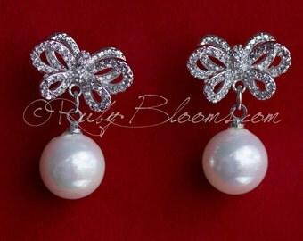 Art Deco Earrings, Bow CZ Silver Pearl Bridal Earrings, Cubic Zirconia Earrings, Wedding Accessory, Gift Bridesmaid Earring, by Ruby Blooms