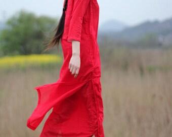 Red silk maxi layered slit dresses BonLife