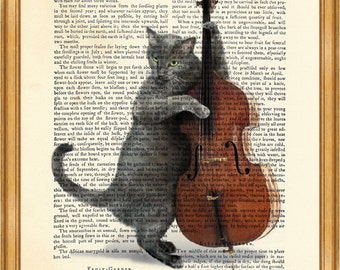 Cat Musician Playing Cello DICTIONARY ART PRINT on Vintage Dictionary Page 10'' x 8'' from Antique Book
